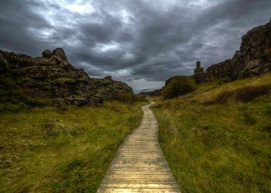 Path to the parliament.  Þingvellir, Iceland.