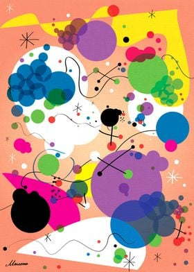 Abstract digital art Inspired by Joan Miro, geometric f ...