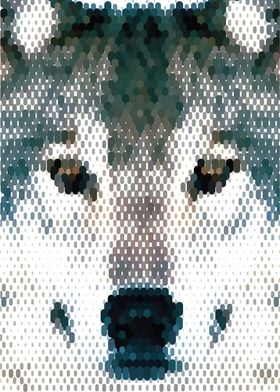 Wolf Portrait Mosaic - Vector Art