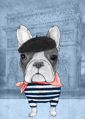 French Bulldog in Paris (in front of Arc de Triomphe)