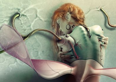 Angel. Fotoilustración de criatura biónica, Ginoide (Cy ...