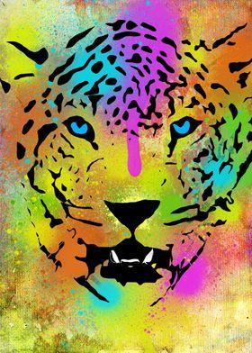 Colorful Tiger portrait with paint splatters (I love sp ...