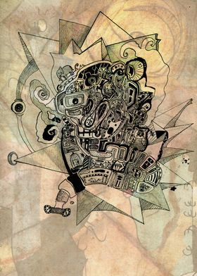 Inner world 3. Free handed chinese ink and graphite, b ...