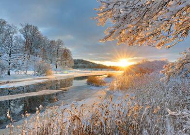 Winter landscape over Storan river, Östergotland, Swede ...