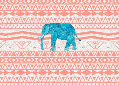 Whimsical Teal Paisley Elephant Pink Aztec Pattern eth ...