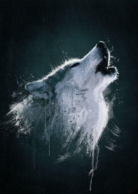 Alaskan Timber Wolf Digital oil painting. (Wild Series) ...