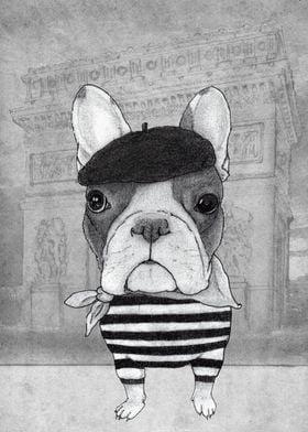 Frenc Bulldog in front of Arc du Triumph, Paris. (black ...