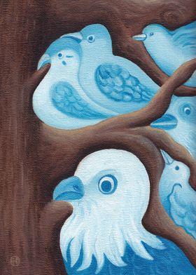 Blue Birds 1 - oil painting