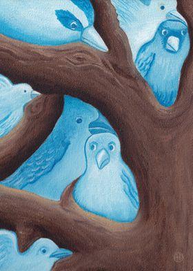 Blue Birds 2 - oil painting
