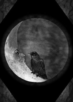 The crow and its moon (version; black and white)