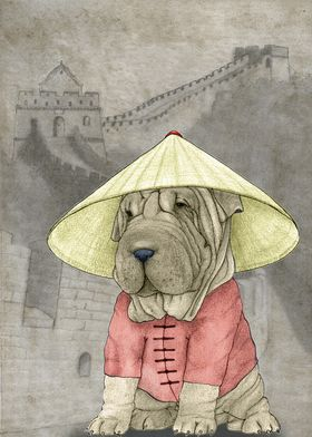 Shar pei in the Great Wall. Hand drawed illustration.