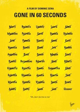 No032 My Gone In 60 Seconds minimal movie poster A ret ...