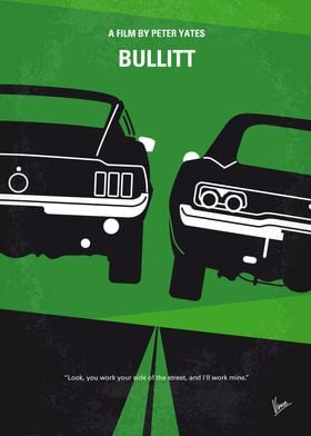 No214 My BULLITT minimal movie poster An all guts, no ...