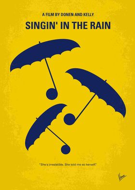 No254 My SINGIN IN THE RAIN minimal movie poster A sil ...