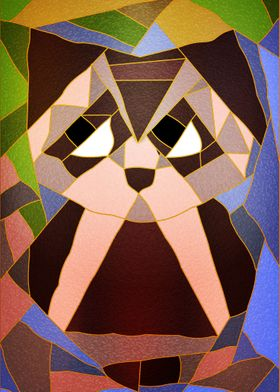 Stained Glass Owl ~ Cute owl sitting on a tree branch m ...