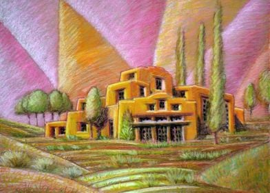 Mesa Dwelling Oil Crayons on Canvas