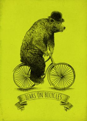 Bears on Bicycles (Lime)