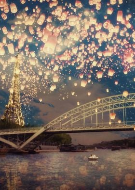 Love Wish Lanterns over Paris