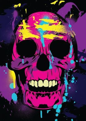 Colorful Skull Paint Splatters and Drips