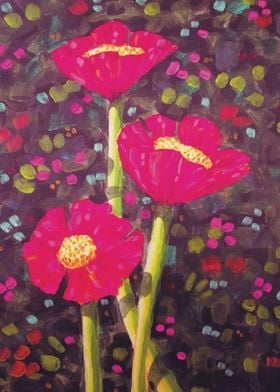 """Three Poppies""  Acrylic on Panel 16"" x 20"" by David Ve ..."