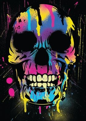 Skull with colorful paint drips