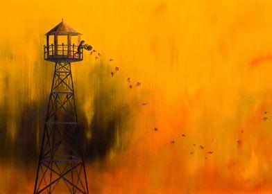 Autumn Tower. (Oil on canvas)