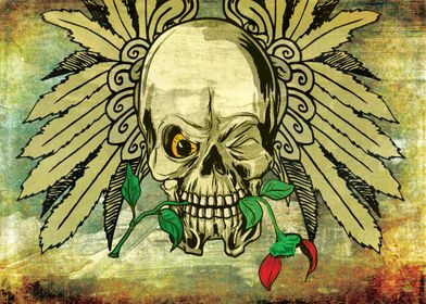 Skull with Wings and Dead Rose