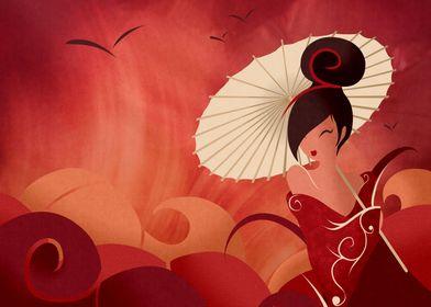 Sakura , Asian Geisha