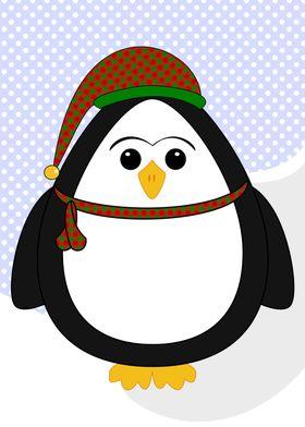 Christmas Penguin ~ Cute Christmas penguin wearing a sc ...