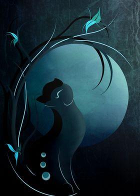 Sensual Cat in the Moonlight