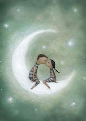 kiss on the moon