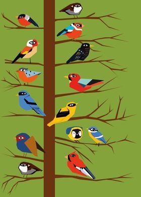 birds II birds I- Tree with birds. Modern illustration, ...