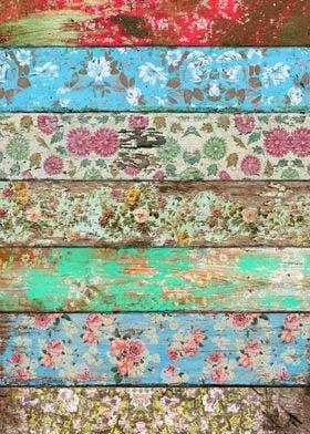 Flowers pattern planks wood vintage old country rustic