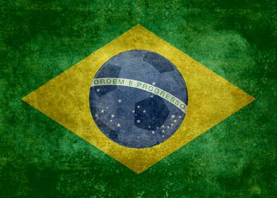 National flag of Brazil - Vintage version with football ...