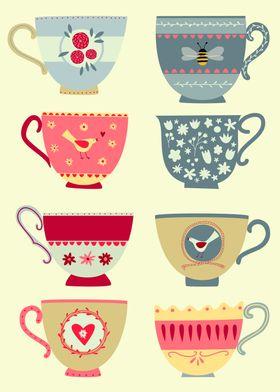 Tea Cups on Yellow