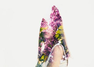 Multiple exposures woman and lilac.
