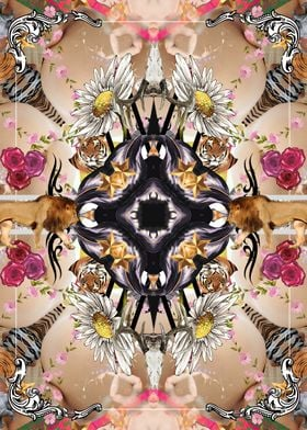 Abstract floral pattern with lions, tigers and angels