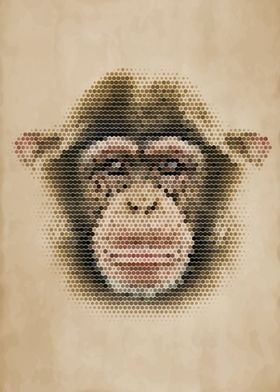 Geometric Chimpanzee Portrait