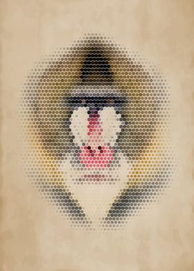Geometric Mandrill Portrait