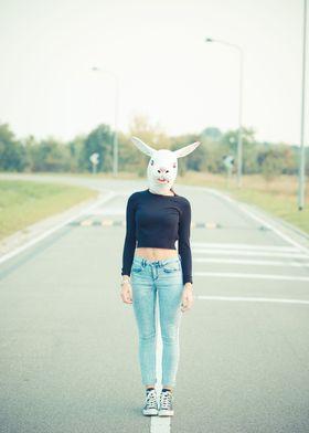 rabbit mask woman