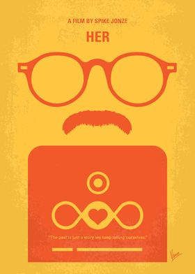 No372 My HER minimal movie poster A lonely writer deve ...