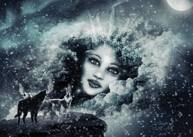 Snow Queen---A digital painting of one of my drawings,  ...