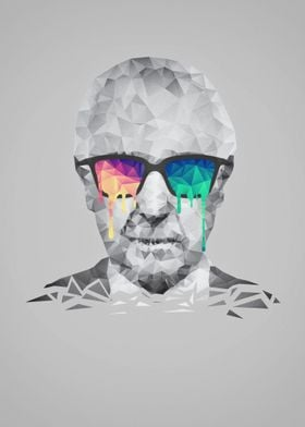 Albert Hofmann - Psychedelic Polygon Low Poly Portrait