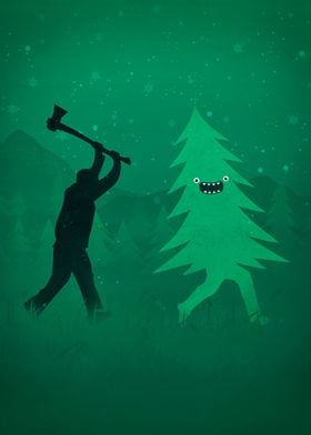Funny Cartoon Christmas tree is chased by Lumberjack /  ...