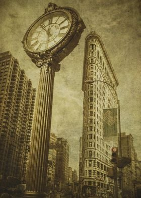 The Flatiron Building and Fifth Avenue Building Clock,  ...