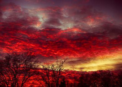 Crimson sky with red dramatic clouds. Sky on fire.