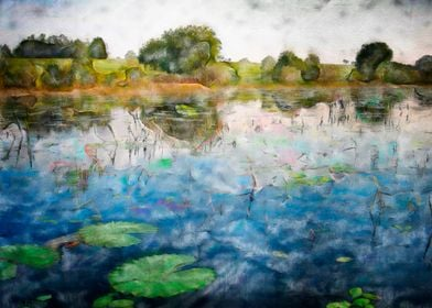 Apres Monet impressionistic pond with lily pads