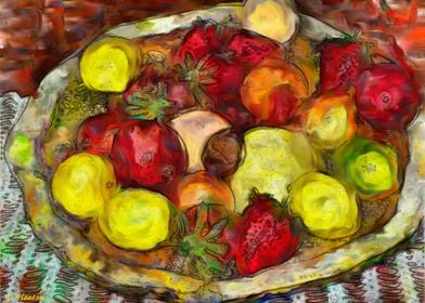 Fruit bowl painting of various fruits done in an impres ...
