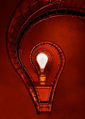Lightbulb - staircase in red