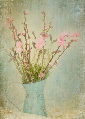 Vintage still life of pink spring blossoms and lavender ...